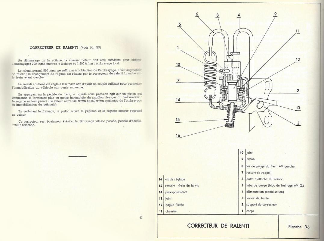 Fonction planche 36 correcteur ralenti vitesses ds 1er montage p47 p