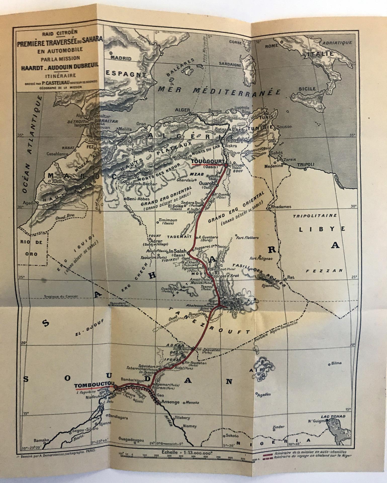 1922 Itinéraire de  la première traversée du Sahara en Autochenilles Citroën