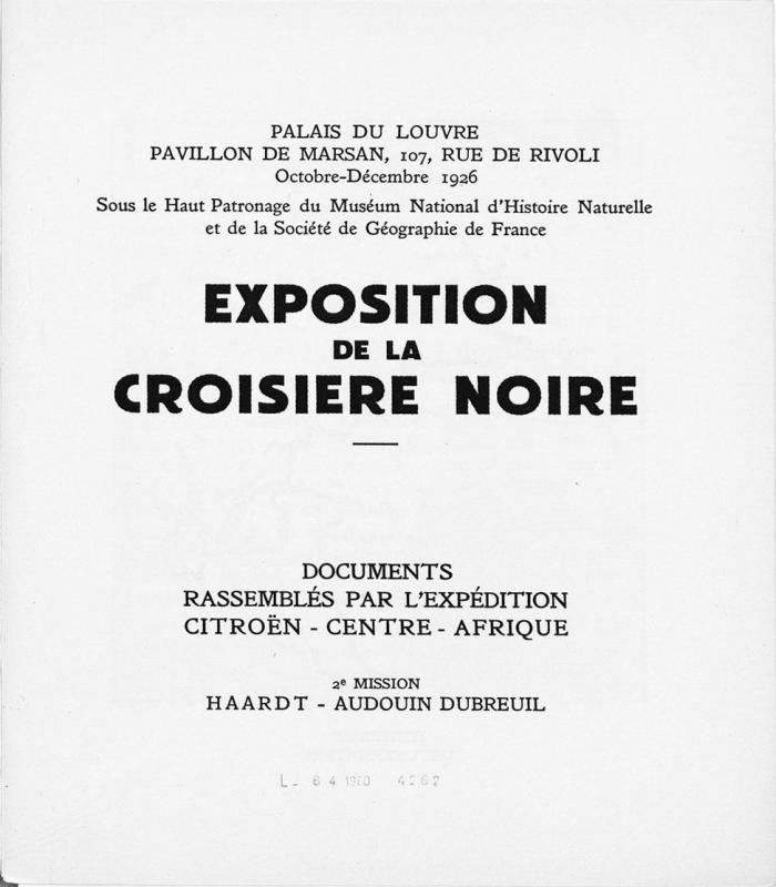 1926 Imprimé sur l'Exposition de la Croisière Noire Citroën