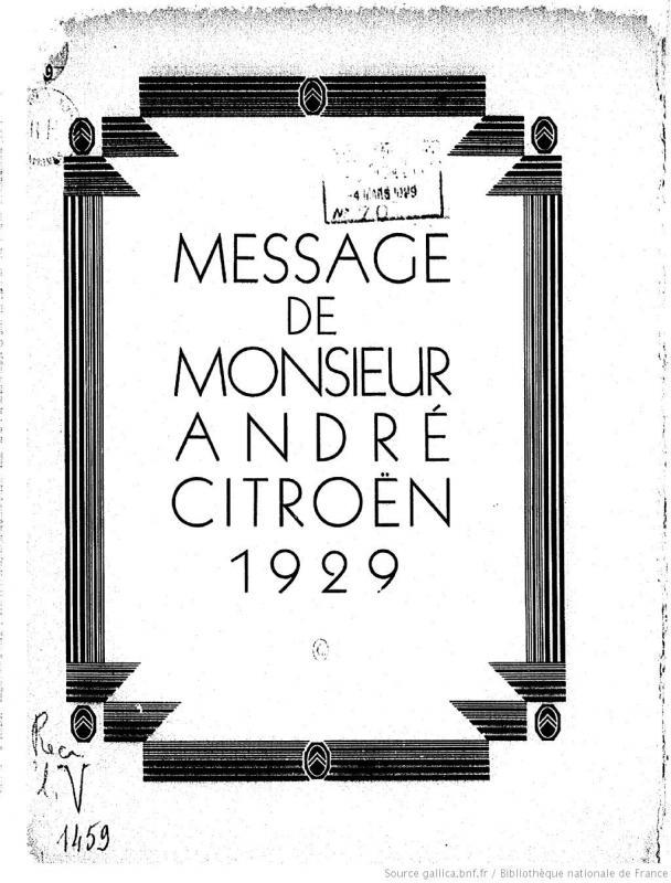 1929 Message de Monsieur André Citroën