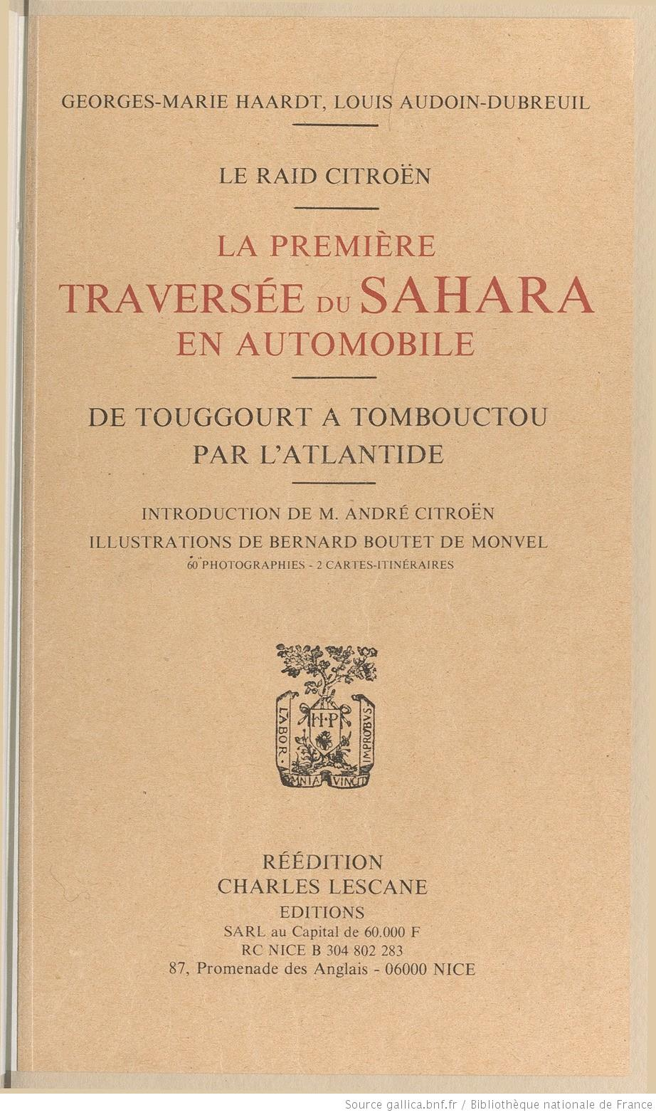 1932 La première traversée du Sahara