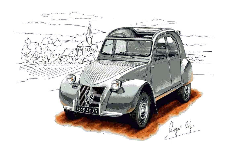 1948 Citroën 2CV Dessin Roger Régis