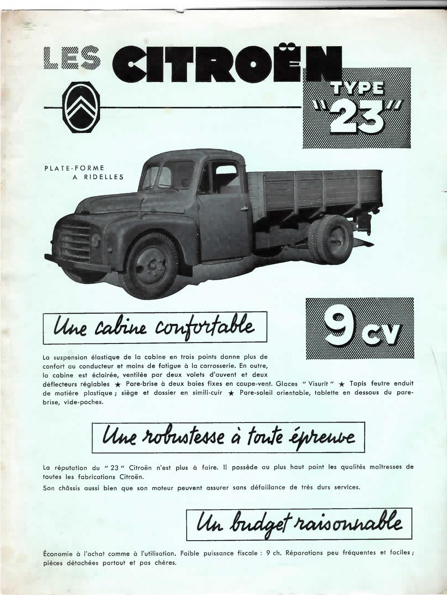 Document Commercial 1954 Citroën Type 23 plateforme