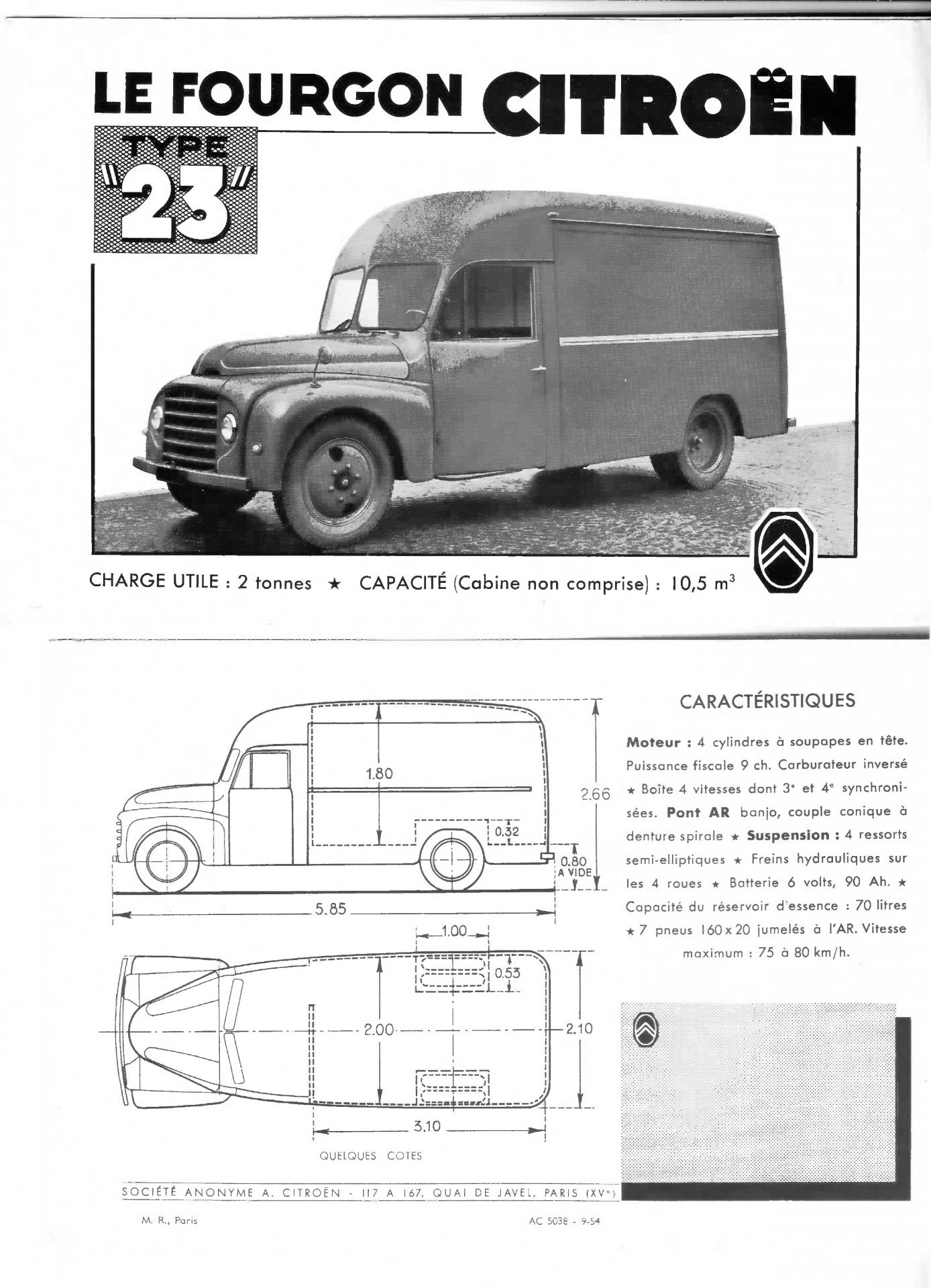 1954 Citroën Type 23 fourgon document commercial