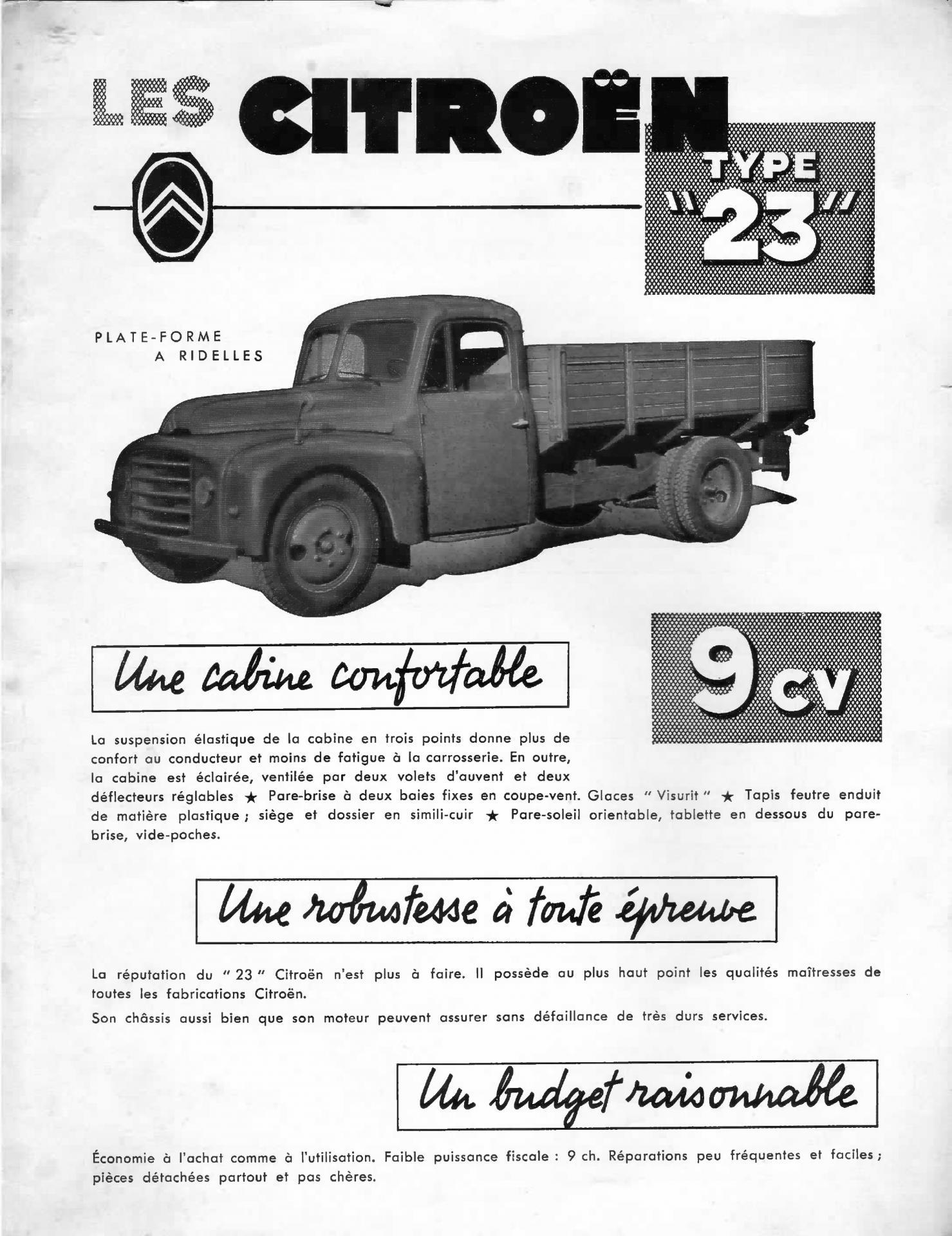 1954 Citroën Type 23 plateau document commercial