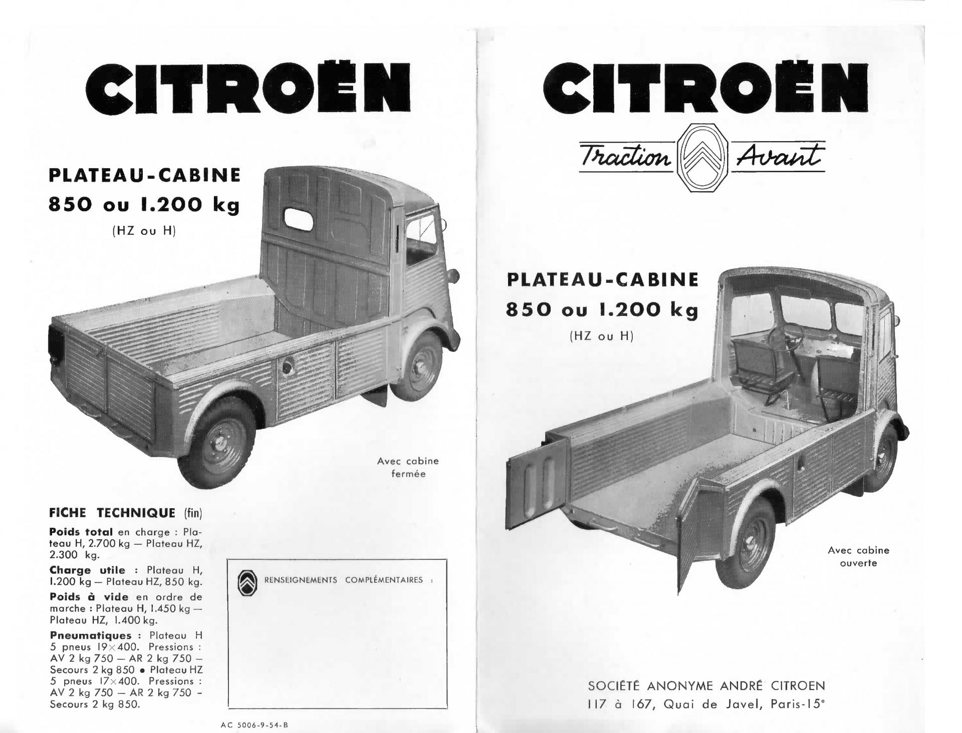 1954 Citroën Type H plateau