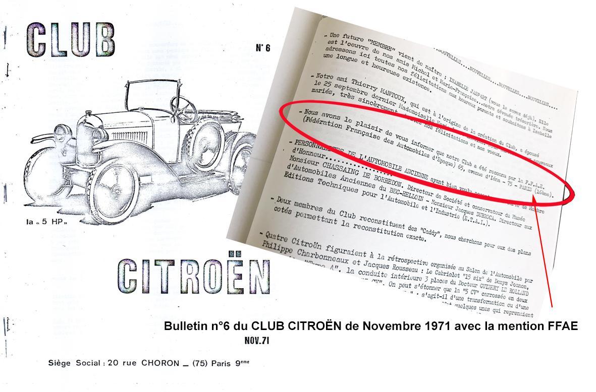 1971 Il y a 50 ans le Club Citroën à la FFAE
