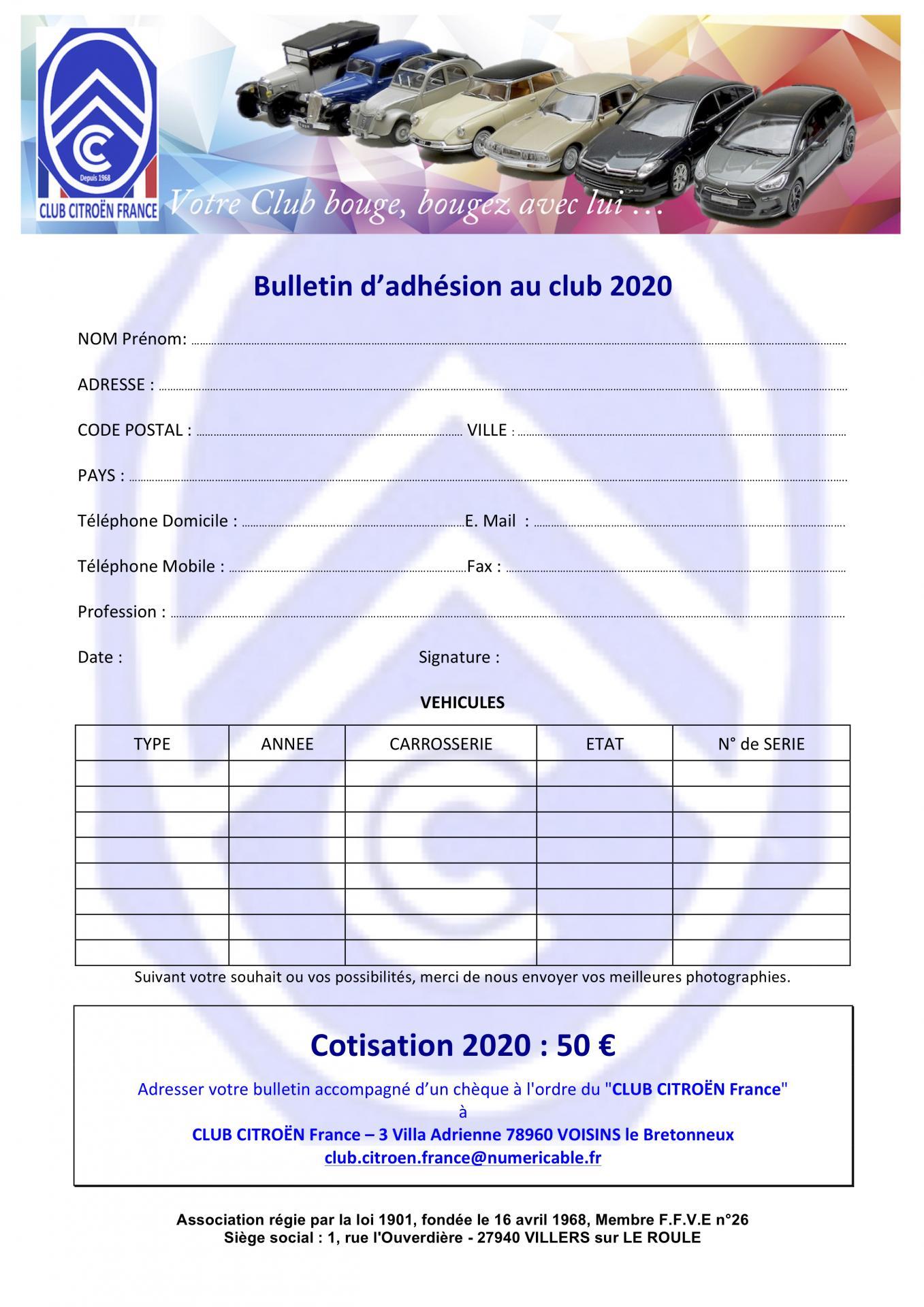 Bulletin inscription club citroe n 2020doc 1