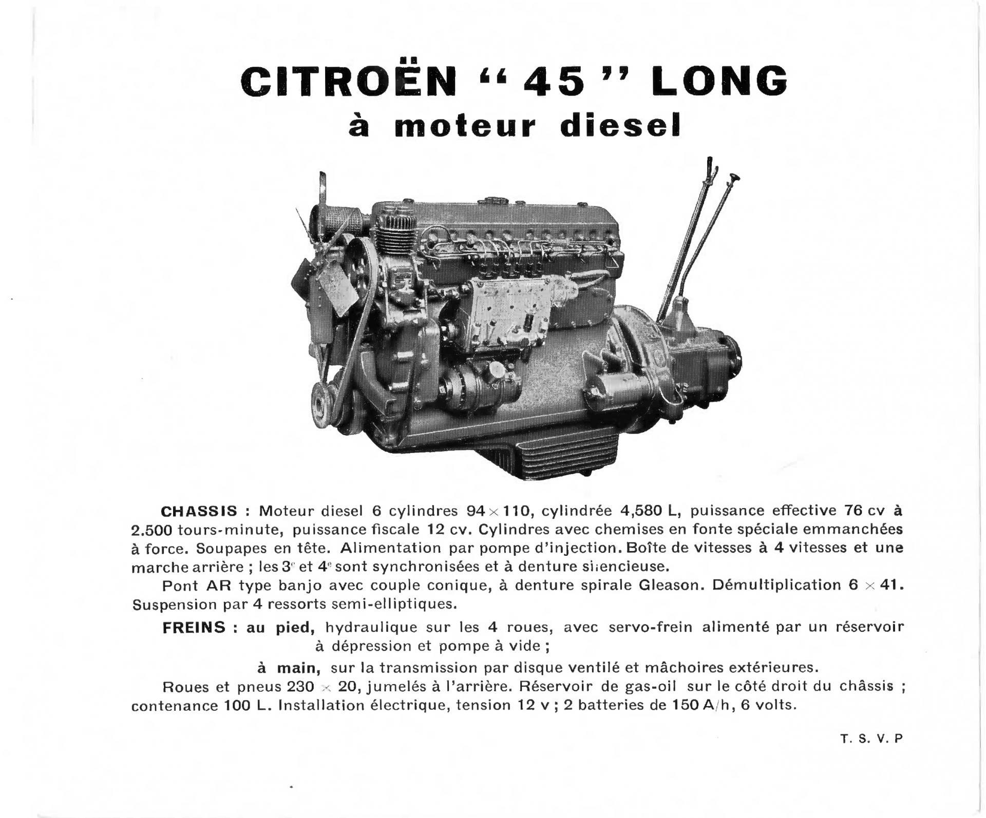 Document moteur Citroënn 45 diesel 1954