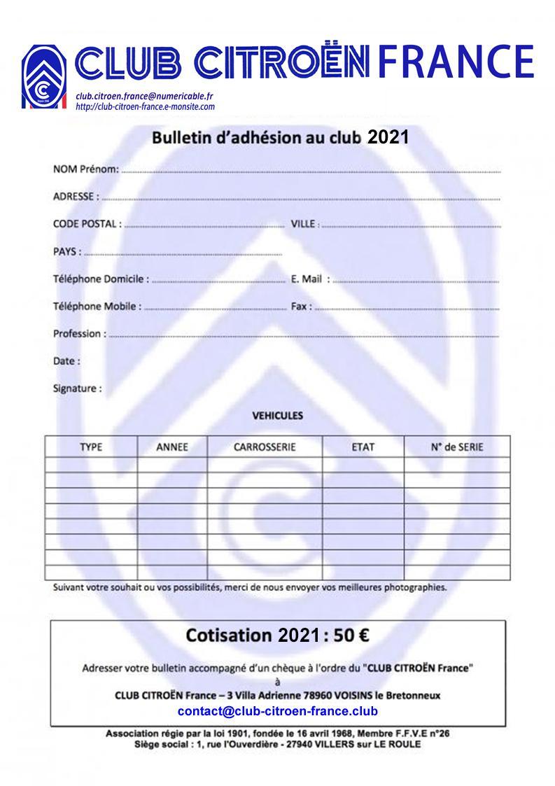 Formulaire d'inscription Club Citroën France 2021