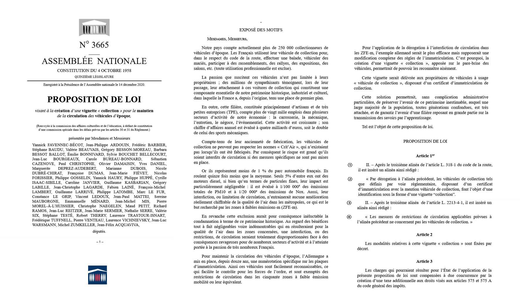 FFVE Proposition de loi 3665 Vignette Véhicule de Collection